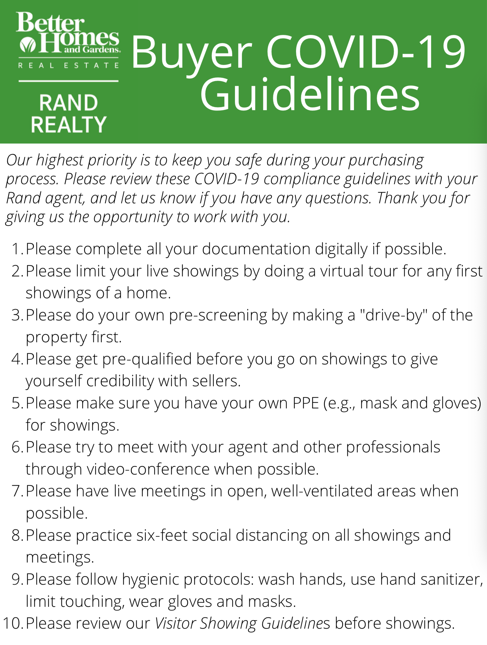 BHG Rand Buyer Guidelines