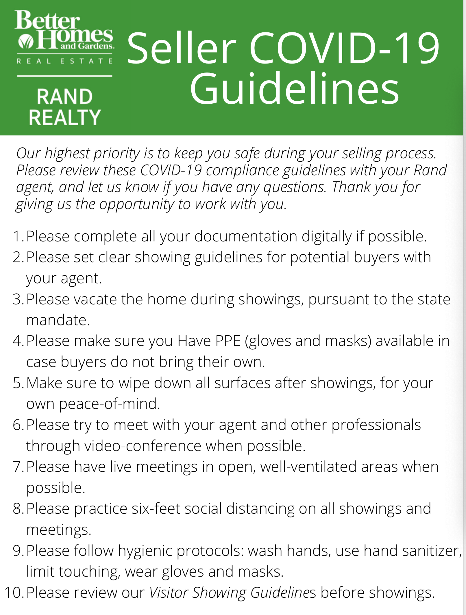 BHG Rand Seller Guidelines
